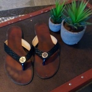 Tory Burch flip flops with Gold detail Size 9